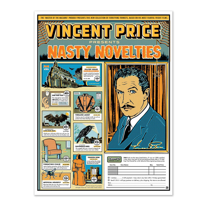 Vincent Price Nasty Novelties Print - Creepy Co.