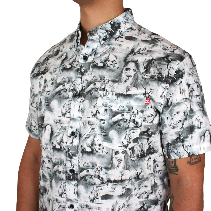 Scary Stories Collage Button-Up Shirt