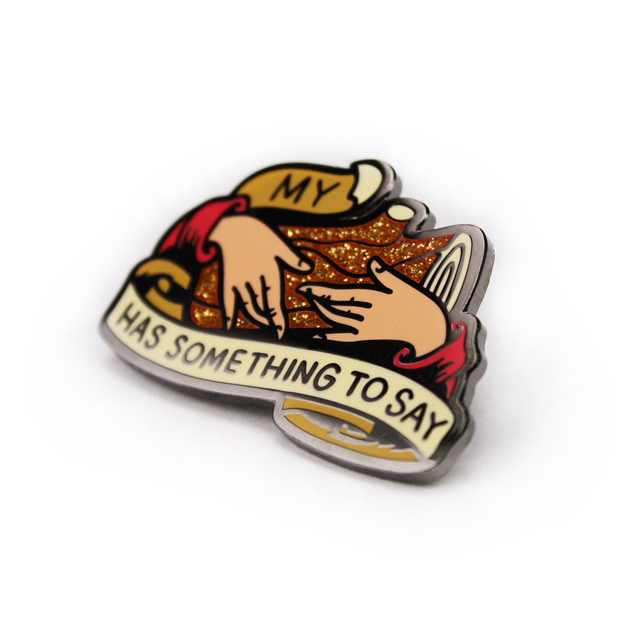 Talking Wood Enamel Pin