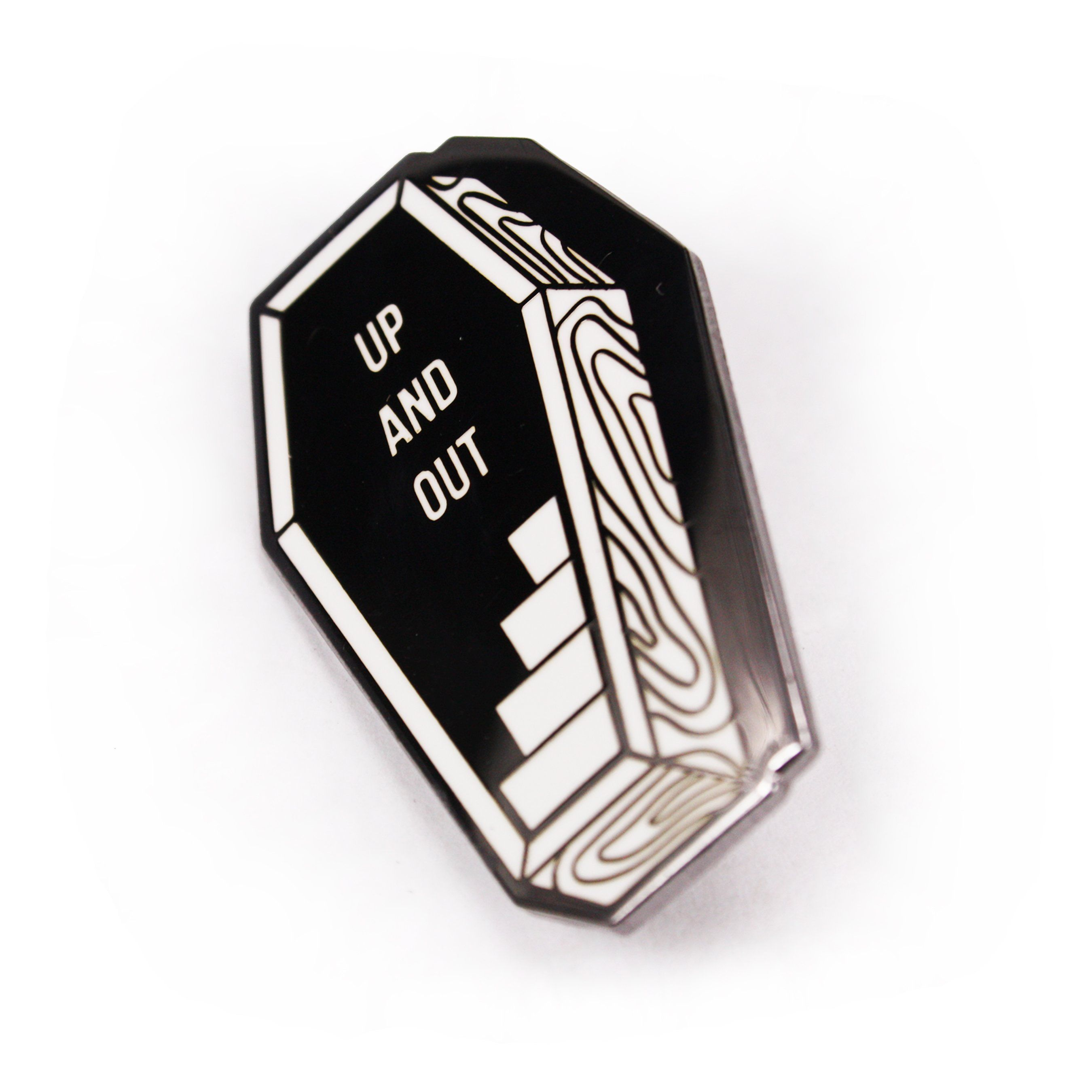 FUNERAL COFFIN UP AND OUT  PIN BY CREEPY CO GOTH HORROR