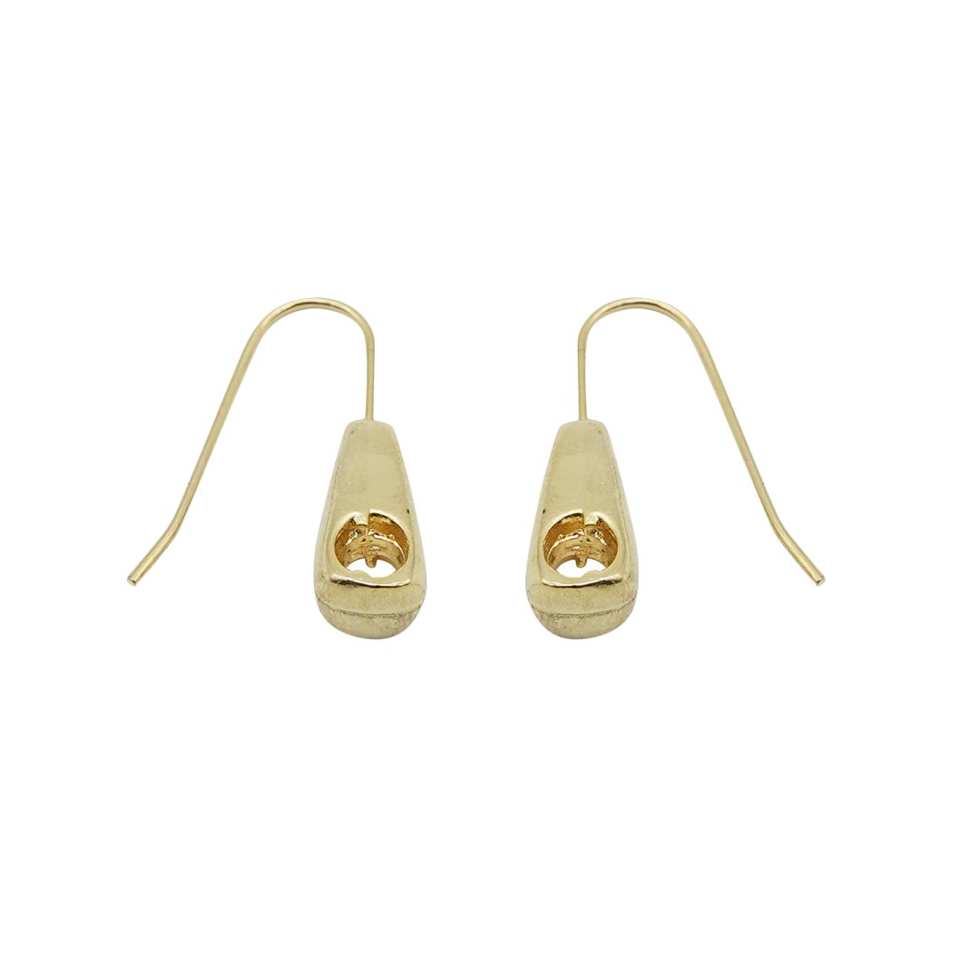 Zipper Dangle Gold Earrings