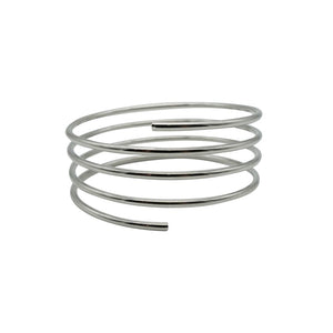 "Show-stopping 1970s Vintage Spiral Matte Rhodium Plated Bracelet, with a 3"" diameter."