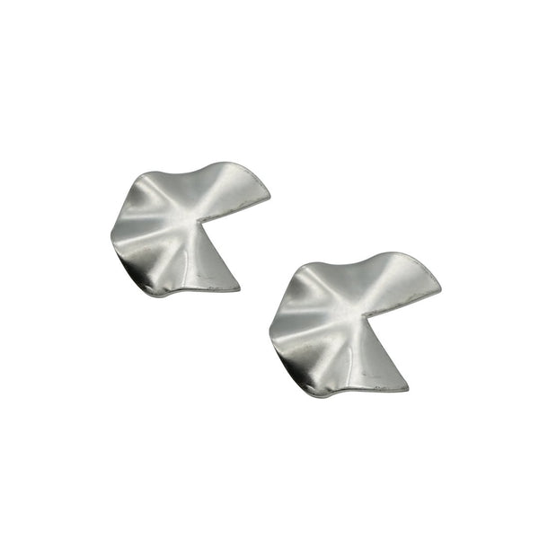 Pacman Rhodium Matte Earrings