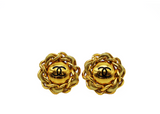 1980s Chanel Oversize Frozen Chain CC Logo Earrings