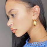 1970s Chunky Gold Embossed Hoops