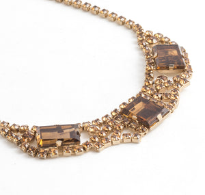 vintage 1950s Collar Necklace in crystal amber color