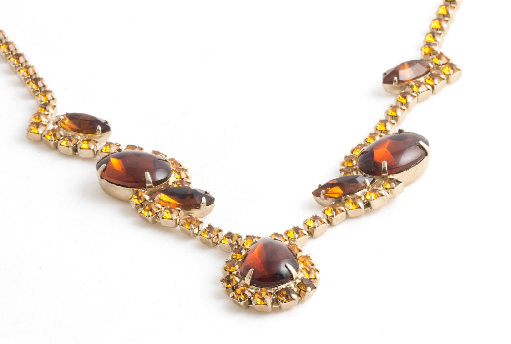Crystal Deep Amber Color Adjustable Collar Necklace