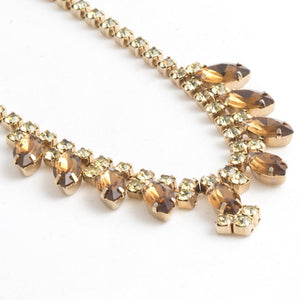 Crystal Amber Peridot Color Adjustable Necklace. Vintage 1950s Amber and Peridot Adjustable Choker