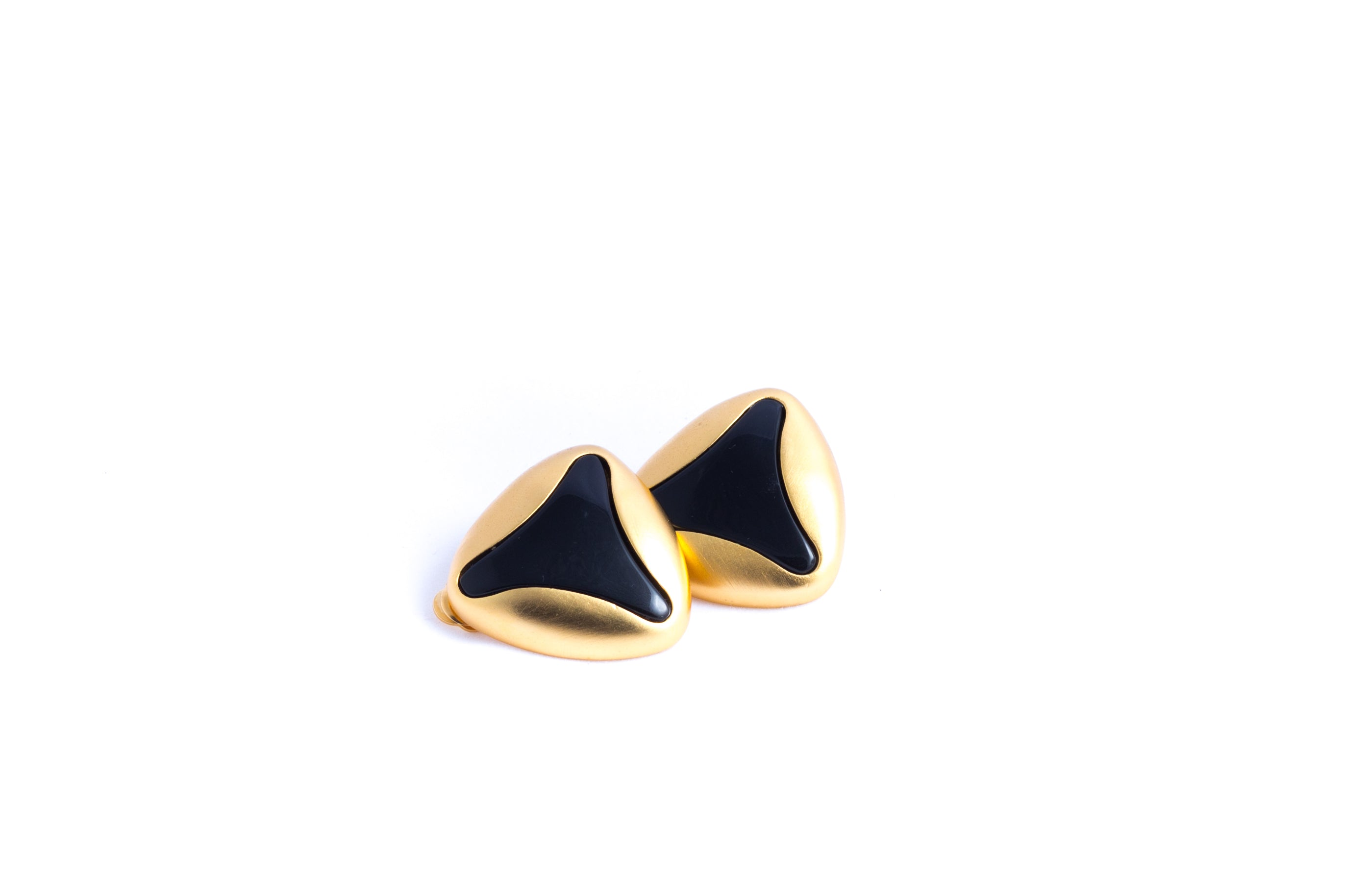 Gold Plated Mogul Clip Earrings Matte and Gold