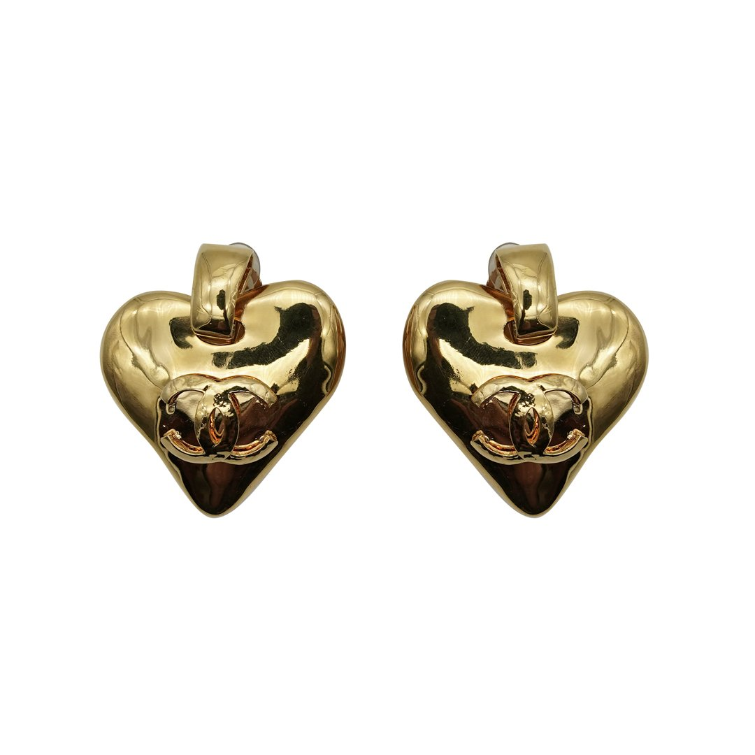 Chanel Heart Clip Earrings