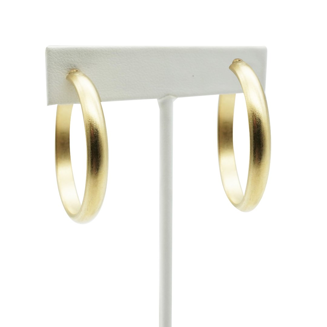 Large Gold Matte Sleek Hoops