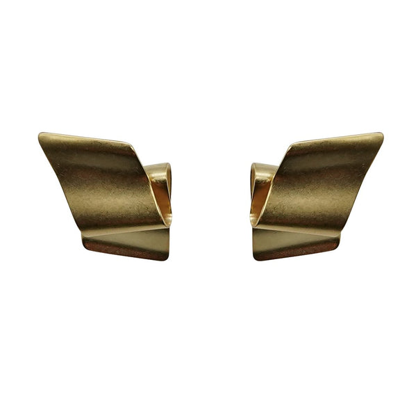 Retro Ribbon Gold Matte Earrings