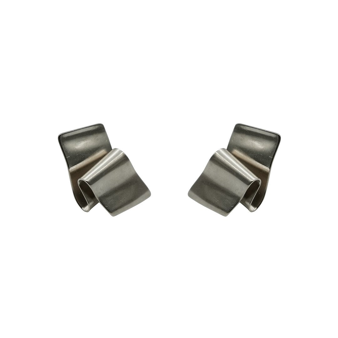 Retro Ribbon Rhodium Matte Earrings