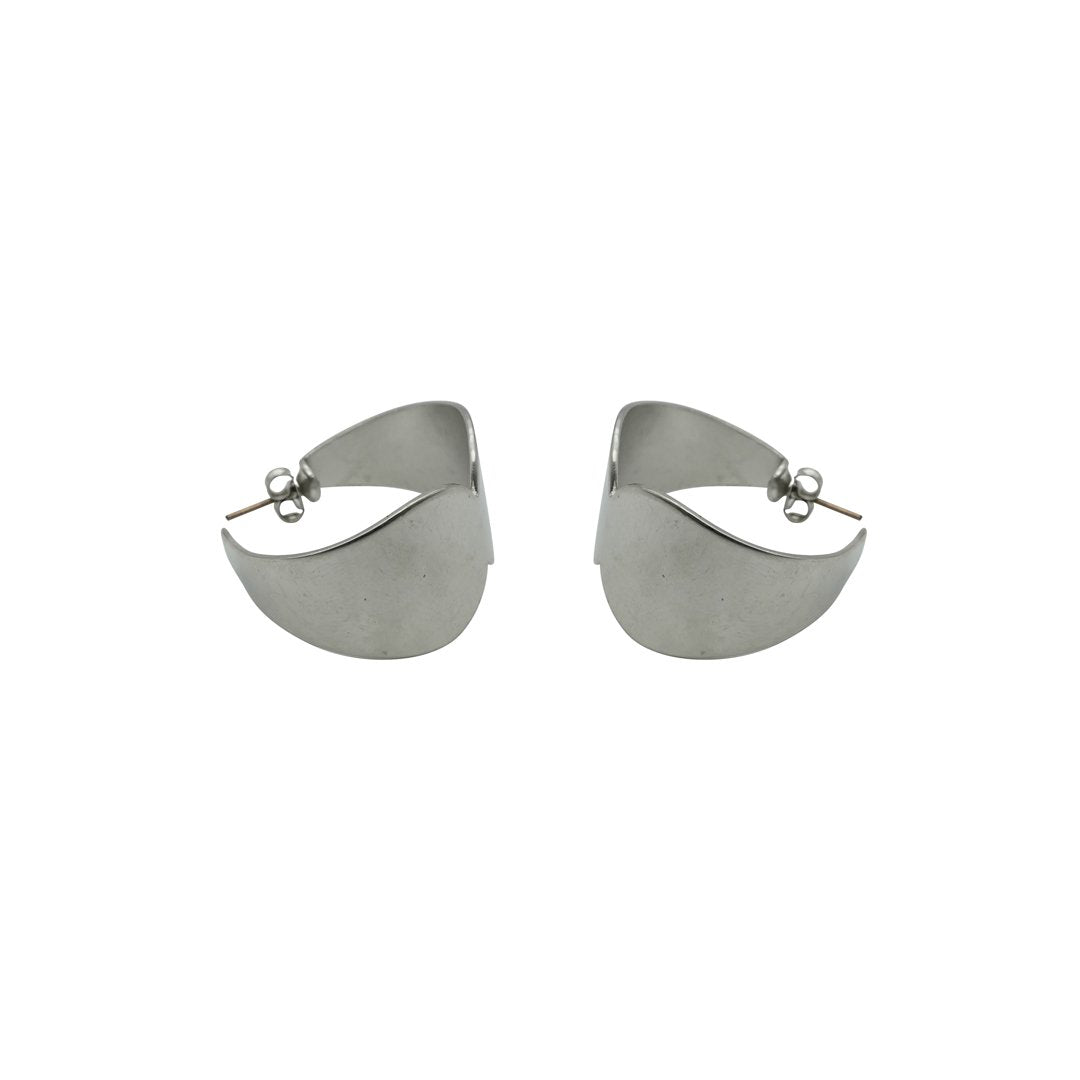 Double Scallop Rhodium Matte Earrings