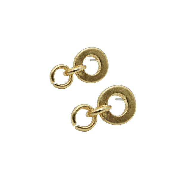 Small Double Drop Gold Hoops