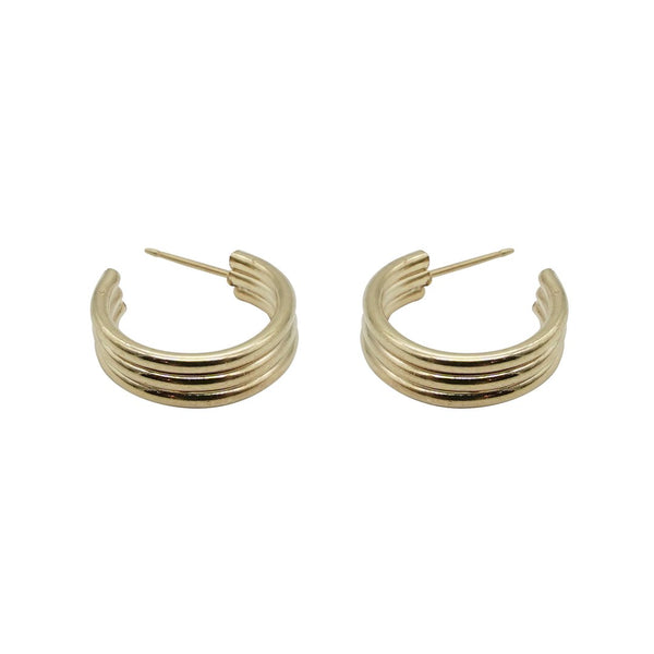 Triple Ribbed Gold Hoops