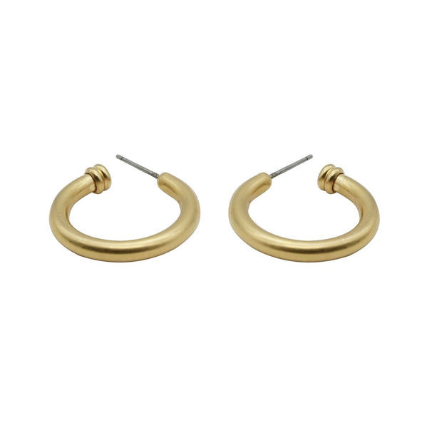 Tiffany Small Gold Matte Hoops