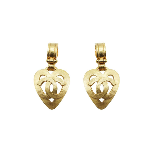 Chanel Heart Dangle Earrings