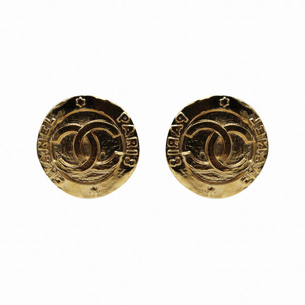Chanel Paris Logo Clip Earrings
