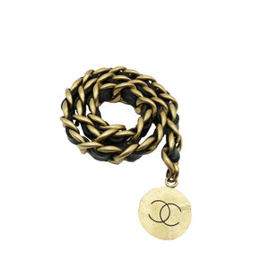 Chanel Woven Leather Logo Charm Belt 1994