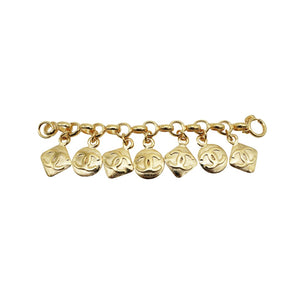 Vintage 1990s Gold Plated Chanel Gilt Oval Domes Charm Bracelet