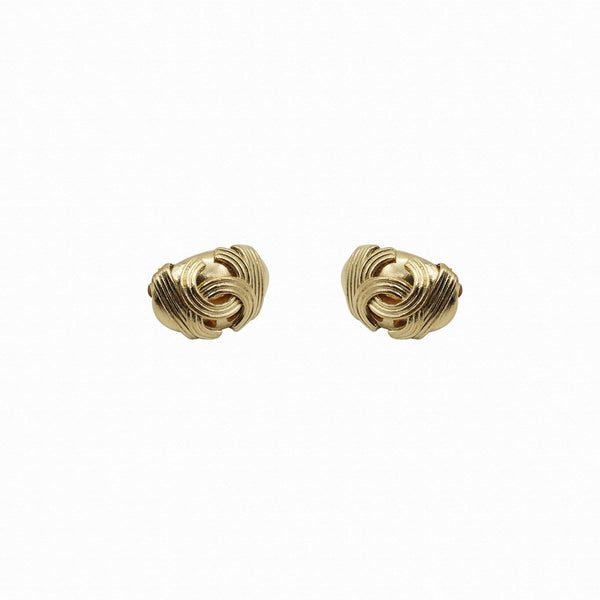Chanel Oval Dome Logo Earrings