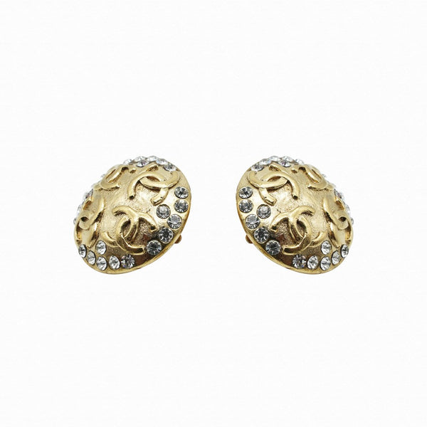 Chanel Gilt Logo Dome Clip Earrings