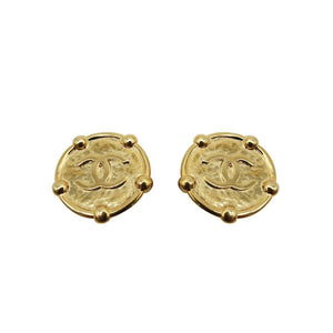 1988 Chanel Hammered Logo Clip Earrings