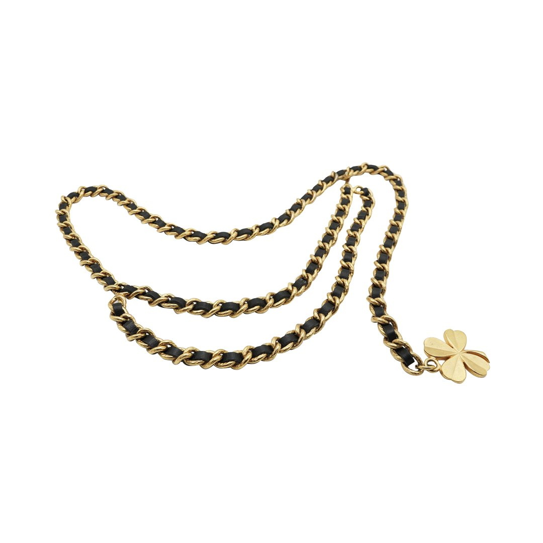 Double Swag Gilt Curb Chain Black Leather Clover