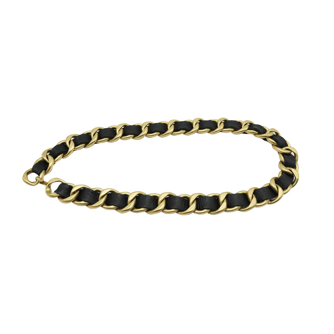 Gilt Curb Chain Woven with Black Leather Belt