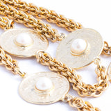 Long Pearl Disc Necklace