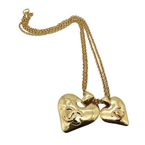 1990s Chanel Domed Heart Pendant Necklace