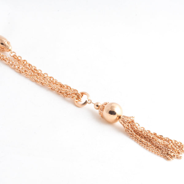 Rose Gold Bead Tassel Necklace