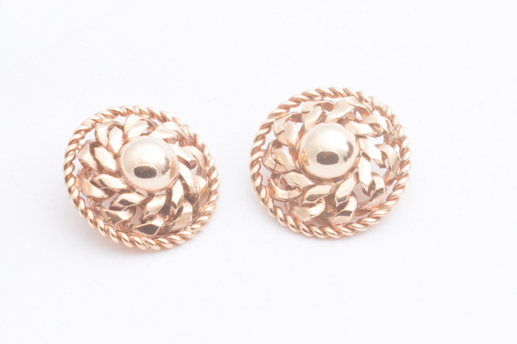 Rose Gold Berger Clip Earrings