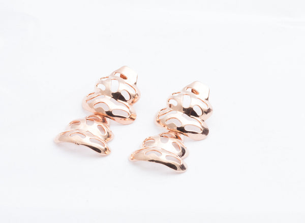 Rose Gold Puzzle Drop Earrings