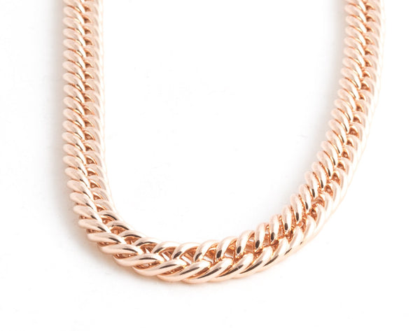 Rose Gold Slim Chain Link Collar Necklace