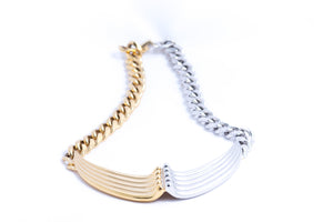 Two Tone Rib V Dip Necklace