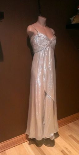 Badgley Mischka nude/silver dress Sz 10, excellent condition