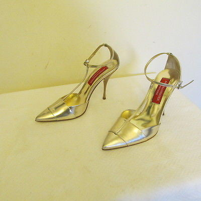 Andrea Pfister Couture metallic silver high heel shoes Sz EURO 37, NEW