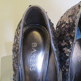 Bakers silver/sequin  high heel platforms Sz 6M