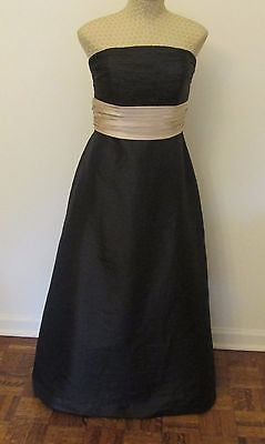 Bill Levkoff black elegant formal dress with sash size 8,NEW