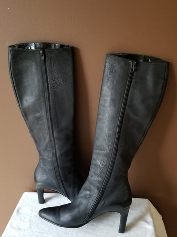 Salvatore Ferragamo knee high black leather boots