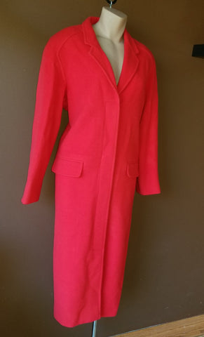 Debbie Shuchat button up long red coat, size 4