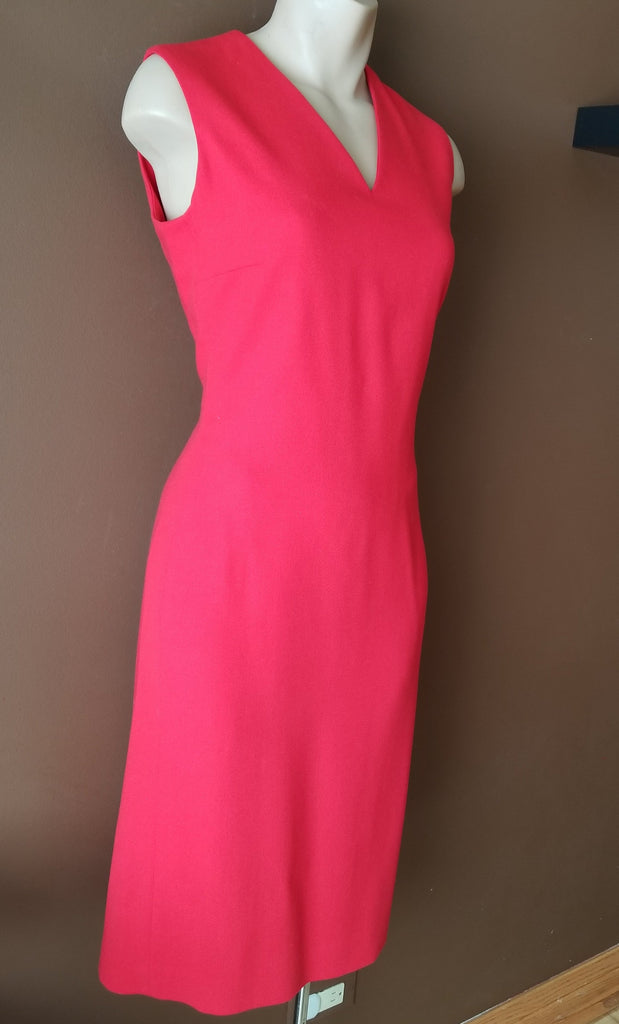 Ralph Lauren V-neckline red dress, Sz 4. 100% Wool, lining 100% Polyester