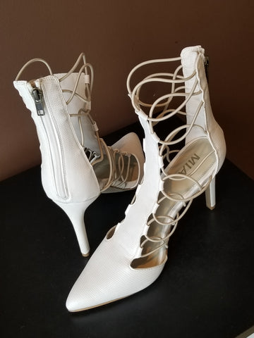 Mia off white strappy sides high heel shoes, Sz 9.5, NEW