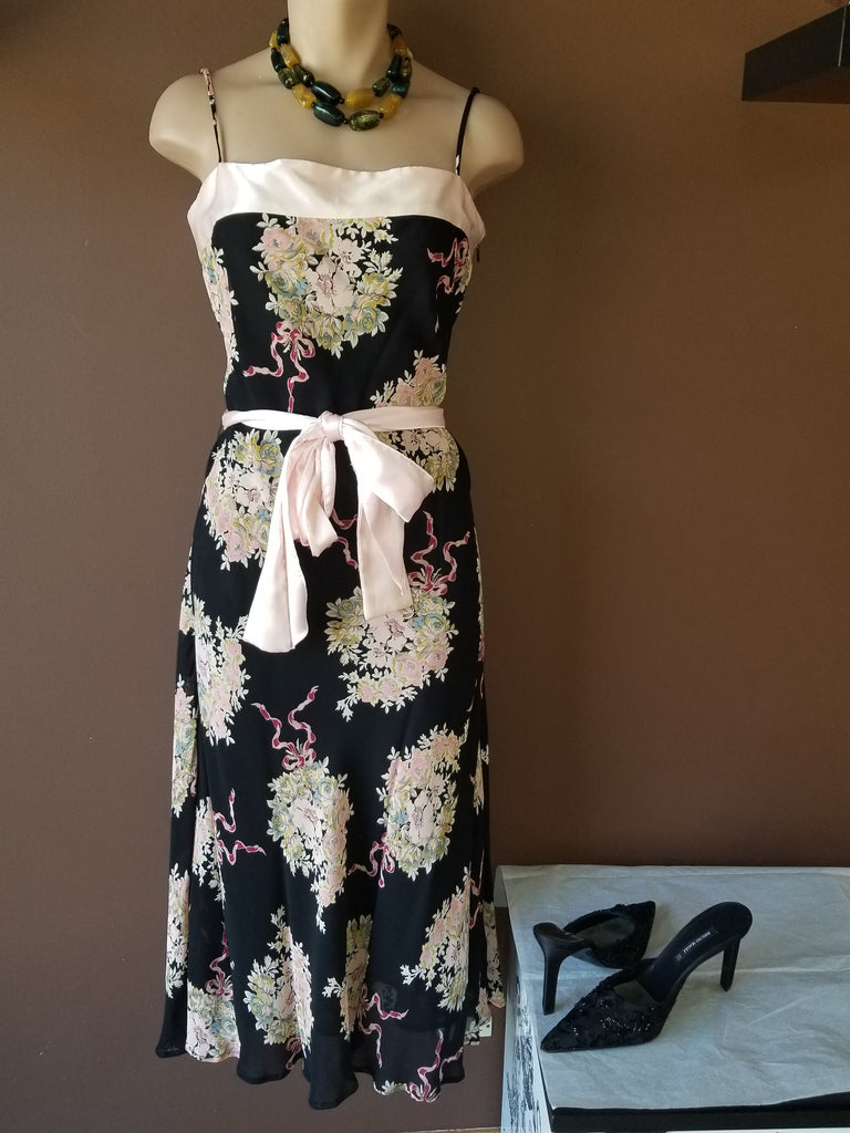 Tessuto sleeveless floral dress with pink accent, Sz 8