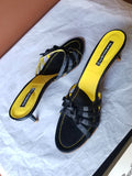 Claudia Ciuti black & yellow Summer sandals, 9 M