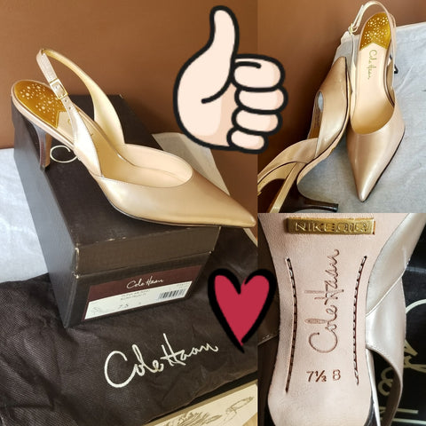 Cole Haan Nike Air nude slingbacks in box, Sz 7.5 B, Fiona Air.Sling