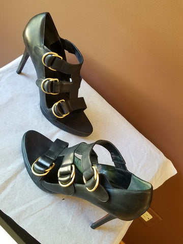 Cole Haan Nike Air black leather Summer heels, Sz 9.5 B