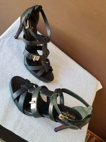 Cole Haan Nike Air black strappy Summer heels, Sz 6.5B
